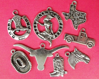 "8 ""Texas Cowgirl"" Themed Charms"