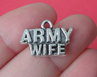 4 ARMY WIFE Charms 14x21mm ITEM:AG11