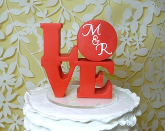 love wedding cake topper with initials