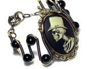 Steampunk Goth Jewerly -  Bracelet - Top Hat Skeleton Gentleman - Onyx