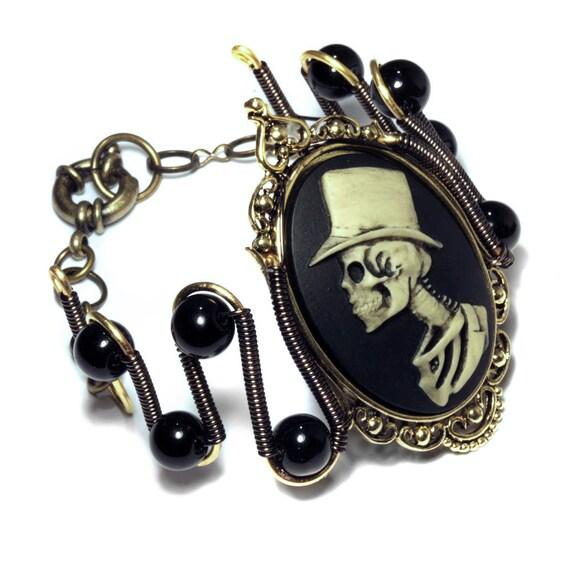 Steampunk Goth Jewerly -  Bracelet - Top Hat Skeleton Gentleman - Onyx