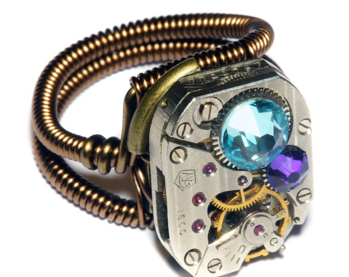 Steampunk Jewelry - Watch Movement Steampunk Ring with Heliotrope and Aquamarine Crystal by Catherinette Rings