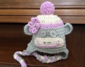 Girl Sock Monkey Hat with Flower and Top Pom Pom - Gray and Orchid Pink - Size Newborn to Adult