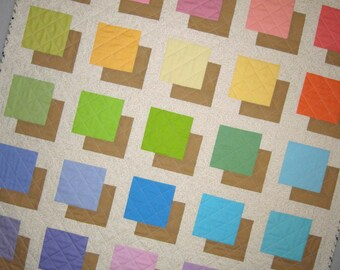 COLOR BLOCK Quilt Original Design from Quilts by Elena Table Runner Wall Hanging Ready to Ship