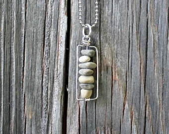 Drilled Rocks Pebbles & Stones Silver Wire Wrapped Necklace w Chain