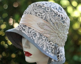 20s Hat Vintage Style Cloche Wedding Bridal Silk Lace and Rhinstones Grey Nude