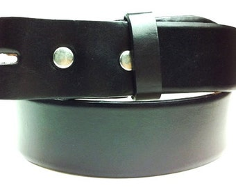 "Mens Womens Black Leather Belt Strap -Snap On Removable- Genuine Cowhide - 1 1/2"" inch width- 32 34 36 38 40 42 44 - 25+ OTHER STYLES AVAIL"