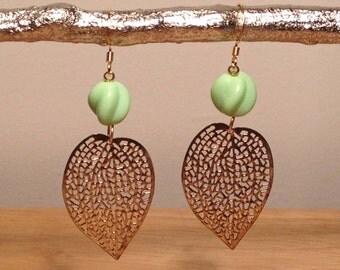 Vintage Green Glass Bead, Brass Leaf Earrings