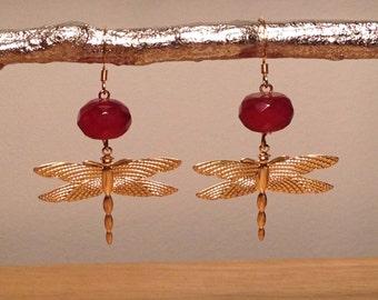 Red jade brass dragonfly earrings