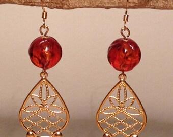Vintage amber brass filigree earrings
