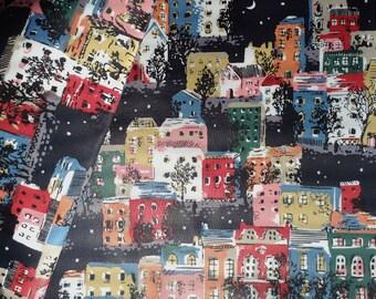 3975 - Cath Kidston Townhouses (Dark Grey) Oilcloth Waterproof Fabric - 28 Inch (Width) x 17 Inch (Length)