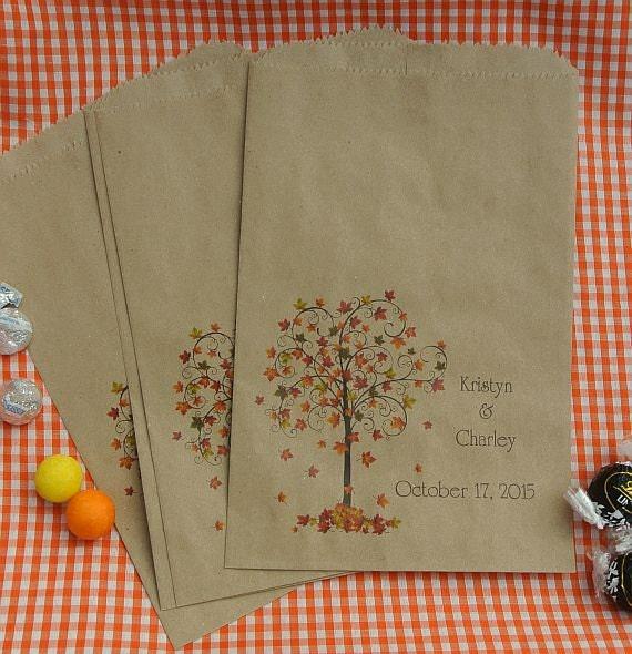 Fall Wedding Favors - Wedding Favor Bags - Rustic Wedding - Favor Bags  -  Fall Favor Bags -  Candy Bags -  Candy Buffet Bags