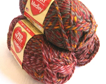 Red Heart Medley yarn, bulky weight yarn, VOLCANO, red orange purple brown variegated