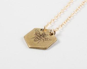 Hexagon Necklace - Bee Necklace - Honeybee Jewelry - Bee Charm - Gold Bee Necklace - Honeybee Jewelry