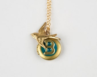 B Necklace - Initial Necklace - Monogram Necklace - Bird Necklace - Bird Locket - Personalized Necklace - Swallow Necklace - Letter B