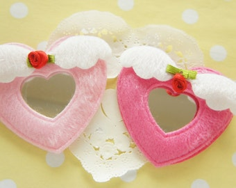 Clearance SALE 4 pcs Angle Wing Heart Motif Applique with Plastic Mirror in (60mm) MK003