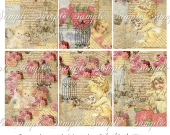 Instant Download - No. 300rose - 2.5 x 3.5 - ACEO  - U Print - Printable  Digital Collage Sheet