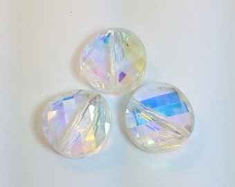 Set of Three - Medium Iridescent Mirrored Beveled Disc Bead