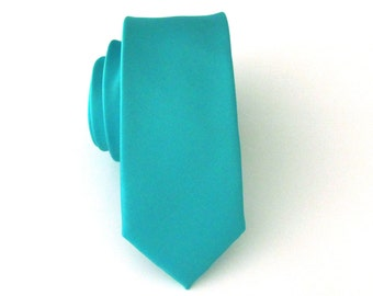 Mens Tie. French Green. Vibrant Turquoise Skinny Teal Necktie With Matching Pocket Square Option