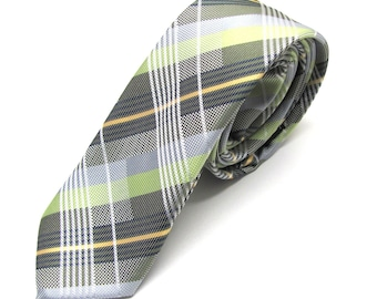 Mens Tie. Green and Gray Plaid Skinny Necktie
