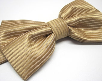 Mens Bowties. Gold Bow tie. Gold Stripes Bowtie With Matching Pocket Square Option