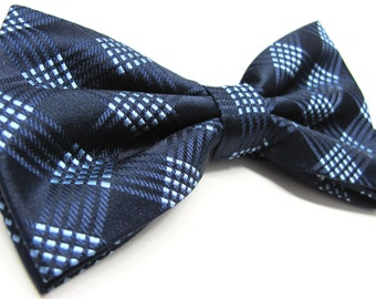 Mens Bow Tie. Blue Plaid Bow Ties With Matching Pocket Square Option