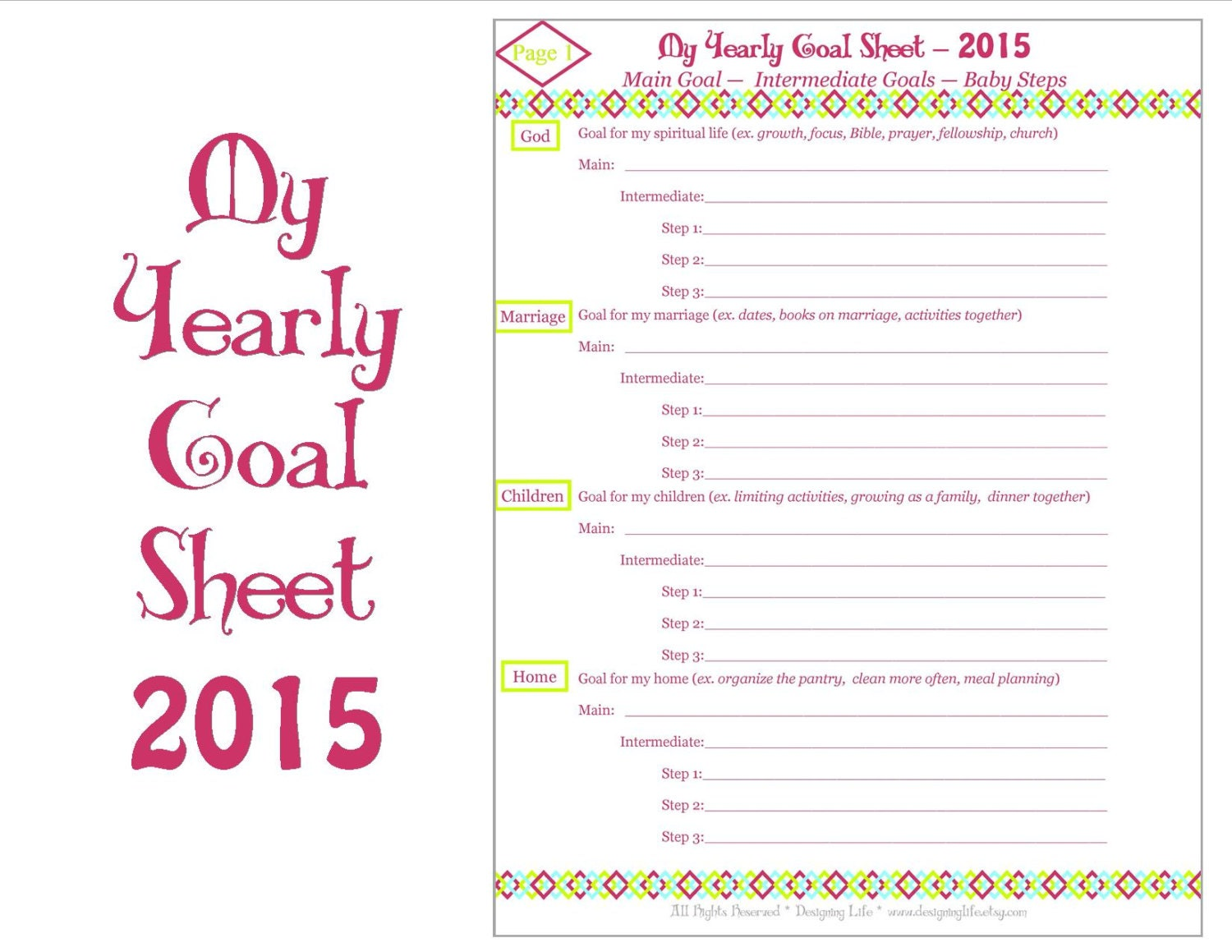 2015 Yearly Goal Setting Printable Worksheets by DesigningLife