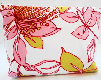 Zipper Pouch Cosmetic Bag - Pink Floral