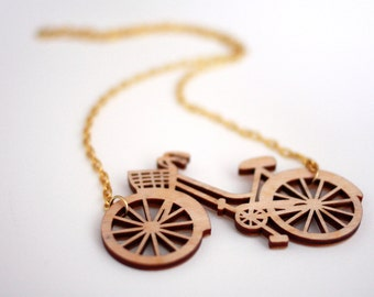 Bicycle Necklace, Laser Cut Necklace, Birch wood, Statement Necklace, Handmade in Brighton