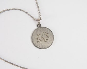 Monogram LKS Pendant Necklace Vintage 60s Jewelry