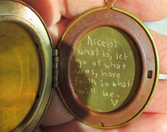 Vintage Brass Engraved Quote locket on vintage oxidized  chain or brass you choose