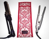 LIMITED - Flat Iron Case/Curling Iron Travel Cover, Damask, Red and White