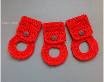 Towel Holders , Crochet Towel Hangers, Housewarming Gift, Home Decor,Removable, Red