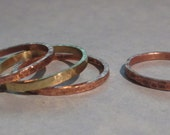 Hammered Ring, Copper Ring, Brass Ring, Stacking Ring, Skinny Ring, Mix And Match Rings, Custom Order Rings