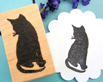 SALE - Black Cat Silhouette Rubber Stamp / Halloween rubber stamp  - Handmade rubber stamp by BlossomStamps
