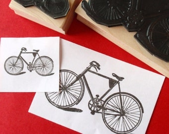 Bicycle Bike Rubber Stamp  - Sz LARGE - by BlossomStamps