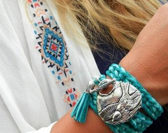 Turquoise Leather Wrap Bracelet, Turquoise Bracelet, Turquoise Wrap Bracelet, Leather Wrap Bracelet Turquoise Silver Wrap Bracelet in Silver