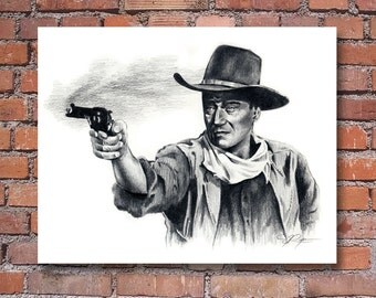 "John Wayne ""The Duke"" Movie Portrait Signed Pencil Art Print by Artist DJ Rogers"