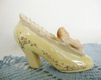 vintage angel , miniature ceramic shoe, Japan lusterware