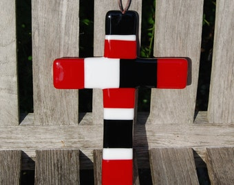 Wall Cross Fused Glass UGA Georgia Colors - Red and Black - Christian Gift - Bulldogs