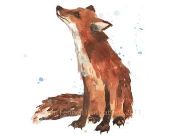 Watercolor FOX print, 8x10 print, ready to frame, fox lover gift, WATERCOLOUR ANIMAL print
