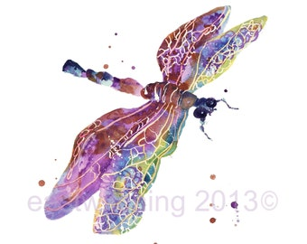 Watercolor DRAGONFLY print, dragonfly watercolour, ready to frame, 8x10 print, gift for mom