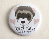 Pocket Mirror - Ferret Farts are the Cutest - Ferret Lover Cute Animal Pet 2.25 Inch Purse Mirror Small Gift Funny Toot Joke Ferrets Hearts