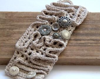 Crochet linen bracelet beige grey cuff Valentine's gift for her wrist with buttons textile handmade UK Birthday winter autumn spring Mom