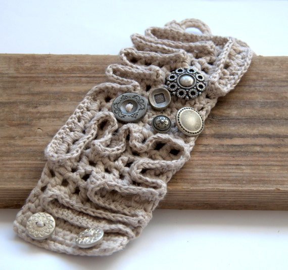 Crochet linen bracelet beige grey cuff Christmas gift for her wrist with buttons textile handmade UK Birthday winter autumn spring Mom