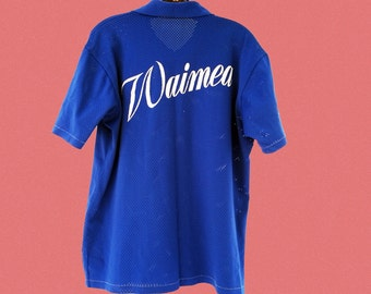 vintage 70's sport shirt, royal blue, L / XL, ultra cool