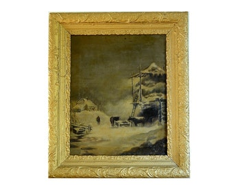 SALE Antique Oil Painting Winter Farm Scene in Gold Gesso Frame 26 x 22