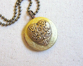 Heart Locket, Heart Necklace, Brass Locket, Keepsake, Filigree Heart, Romance, Love, Wedding Gift, Photo Locket, Anniversary Gift, For Her
