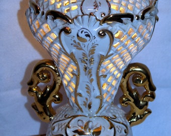Blanc de Chine Style gold white table lamp light Vintage Hollywood Regency