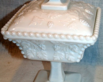 Westmoreland Covered Grapes White Milk Glass Pedestal Candy Dish Square